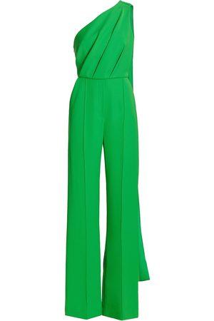 Elie saab Women's Crepe One-Shoulder Sash Belted Jumpsuit - Grass - Size 6