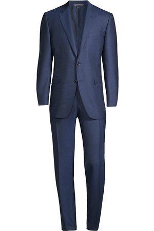 CANALI Men Suits - Men's Birdseye Wool Suit - Mid - Size 40