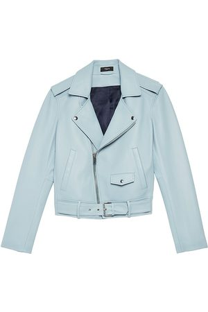 THEORY Women Leather Jackets - Women's Casual Moto Leather Jacket - Eggshell - Size Small