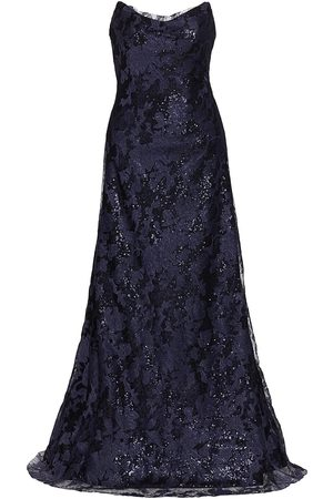 Rene Ruiz Collection Women Strapless Dresses - Women's Strapless Sequin Lace Gown - Navy - Size 16