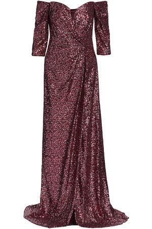 Rene Ruiz Collection Women's Off-The-Shoulder Sequin Gown - Maroon - Size 16