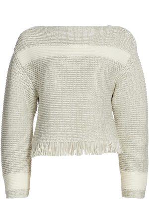 PROENZA SCHOULER WHITE LABEL Women Hoodies - Women's Textured Fringe Striped Wool Sweater - Khaki Off - Size Small