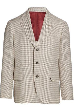 Brunello Cucinelli Men Blazers - Men's Houndstooth Three-Button Blazer - Sand - Size 36