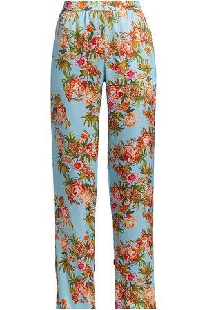 Adriana Iglesias Women Pants - Women's Nima Floral Silk Pants - Pool - Size 12