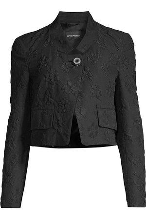 Emporio Armani Women's Floral Jacquard Crop Jacket - Nero - Size 4