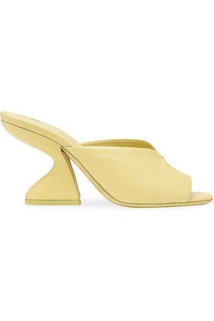 Salvatore Ferragamo Women Sandals - Women's Sansu Leather Curved Block Heel Sandals - Light - Size 10