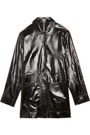 THEORY Women Jackets - Women's High-Gloss Shirt Jacket - - Size Large