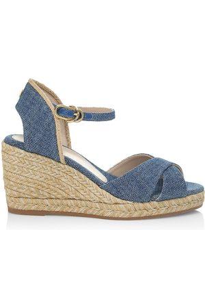 Stuart Weitzman Women's Mirela Denim Espadrille Wedge Sandals - Washed - Size 9.5