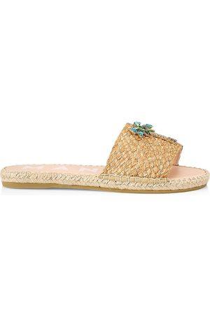 MANEBI Women's Palm Raffia & Crystal Espadrilles Sandals - Natural - Size 8