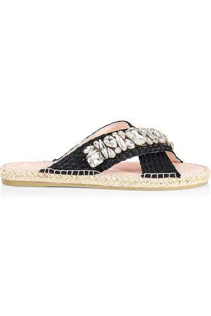 MANEBI Women Sandals - Women's Crystals & Raffia Cross Strap Espadrille Slide Sandals - W Diamonds - Size 5