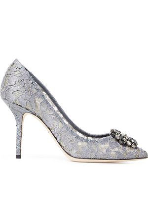 Dolce & Gabbana Women Pumps - Woman Bellucci Crystal-embellished Metallic Corded Lace Pumps Size 40