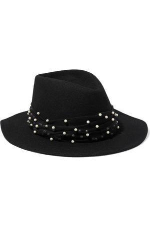 EUGENIA KIM Women Hats - Woman Blaine Faux Pearl-embellished Tulle-trimmed Wool-felt Fedora Size ONESIZE