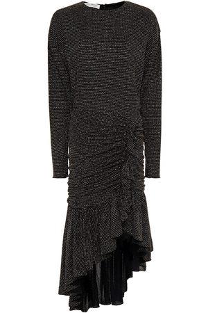 Serafini Women Asymmetrical Dresses - Woman Asymmetric Ruched Glittered Jersey Dress Size 40