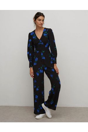 Nobody's Child Button front tea jumpsuit in deep floral print