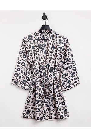 Loungeable Satin leopard print dressing gown-Multi