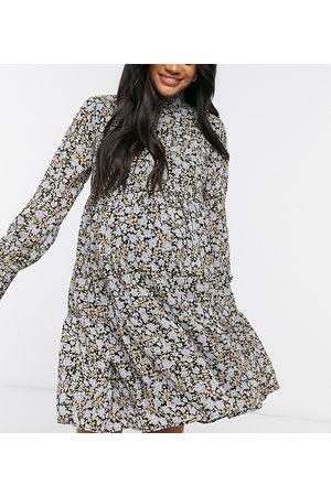 Pieces Maternity High neck smock dress in ditsy floral-Multi