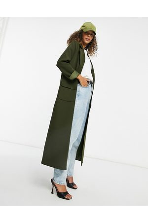 Never Fully Dressed Tailored maxi jacket in khaki
