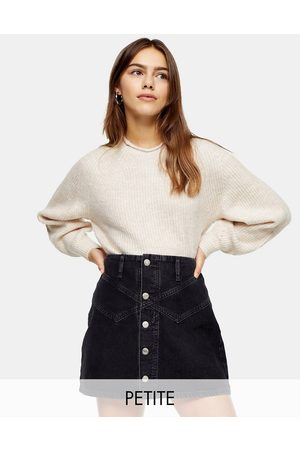 Topshop Petite button front denim mini skirt in