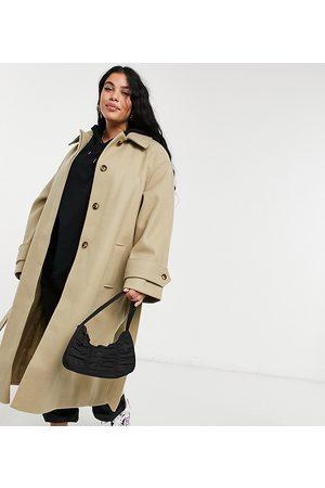 ASOS ASOS DESIGN Curve belted overcoat in camel