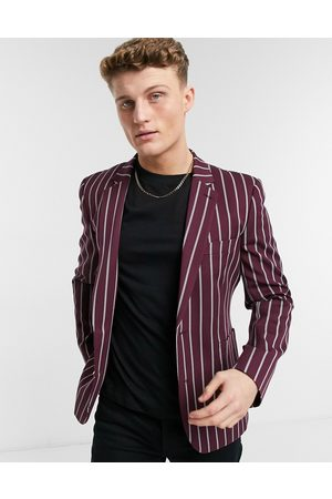 ASOS Skinny blazer with wide stripes and gold button in burgundy