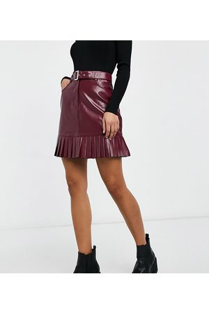 Violet Romance Tall Belted PU mini skirt with pleated hem in burgundy