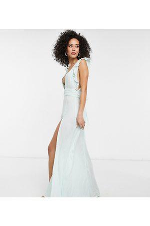 ASOS Women Maxi Dresses - ASOS DESIGN Tall broderie ruffle maxi beach dress in mint