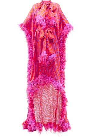 HALPERN Zebra-stripe Feather-trimmed Satin Gown - Womens - Print