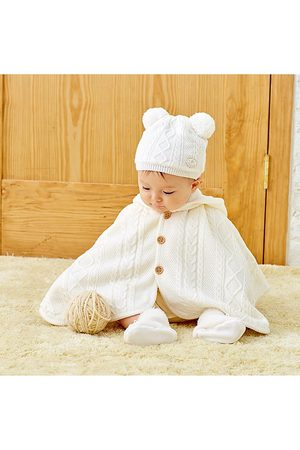 Miki House Unisex Cable Knit Hooded Poncho - Baby