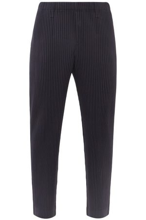 HOMME PLISSÉ ISSEY MIYAKE Men Straight Leg Pants - Technical-pleated Straight-leg Trousers - Mens - Navy