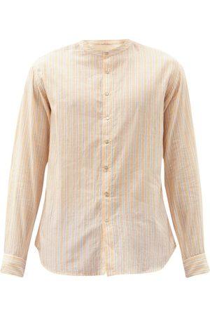 PÉRO Collarless Striped Cotton Shirt - Mens - Light