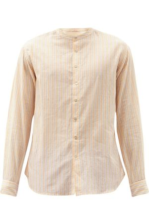 PÉRO Men Casual - Collarless Striped Cotton Shirt - Mens - Light
