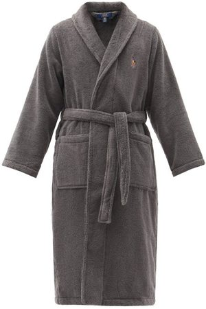 Polo Ralph Lauren Men Bathrobes - Logo-embroidered Cotton-terry Bathrobe - Mens - Dark Grey