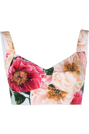 Dolce & Gabbana Women Tank Tops - Floral-print cropped top