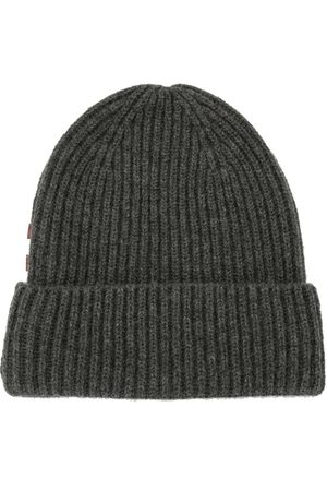 Bally Men Beanies - Ribbed knit cashmere beanie - Grey