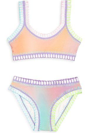 PQ Swim Girls' Golden Hour Sporty Rainbow Embroidered Two Piece Swimsuit - Little Kid, Big Kid
