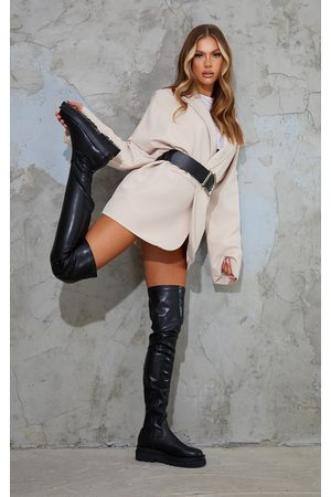 PRETTYLITTLETHING Women Thigh High Boots - Double Sole Over The Knee Boots