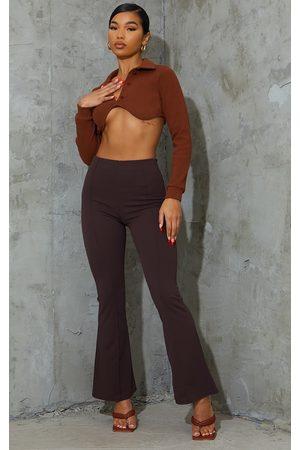 PRETTYLITTLETHING Women Wide Leg Pants - Chocolate Pintuck Detail Flared Pants
