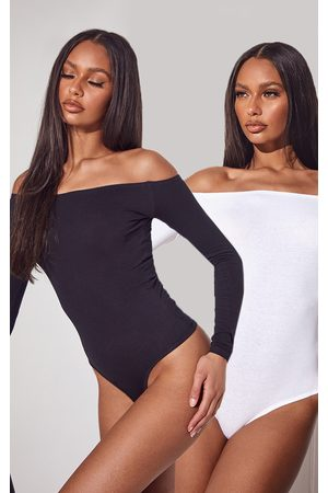 PRETTYLITTLETHING Essential & White Bardot Bodysuit 2 Pack