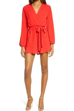 Fraiche by J Women's Flaired Tie Waist Long Sleeve Romper