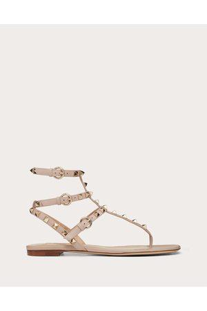 VALENTINO GARAVANI Rockstud Flip Flop Sandal In Calfskin Leather Women Poudre 100% Pelle Di Vitello - Bos Taurus 35