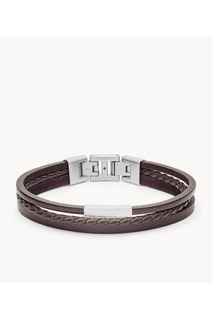 Fossil Men's Multi-Strand Silver-Tone Steel And Leather Bracelet