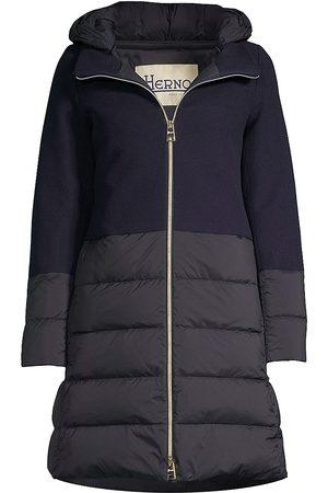 HERNO Women Puffer Jackets - Women's Nuage Wool-Blend Puff Down Jacket - Navy - Size 8