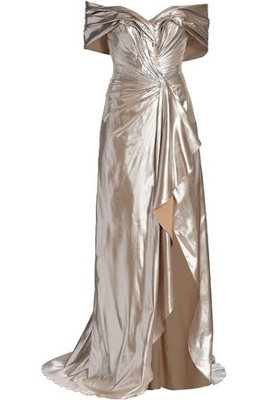Rene Ruiz Collection Women's Metallic Off-The-Shoulder Front-Slit Gown - Champagne - Size 12
