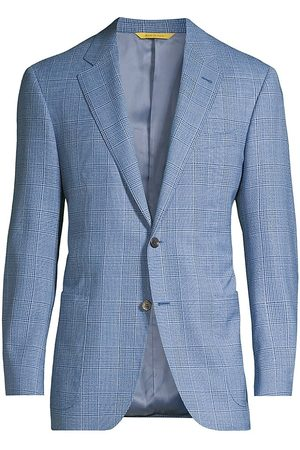 CANALI Men's Houndstooth Plaid Virgin Wool Sportcoat - Mid - Size 44
