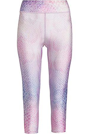 Terez Women Leggings - Women's Reversible Python-Print Tall Band Capri Leggings - Python - Size Large