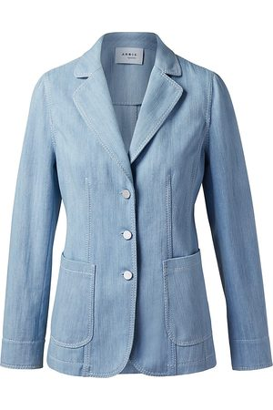 AKRIS Women Denim Jackets - Women's Washed Denim Blazer Jacket - Sun Bleached Denim - Size 16