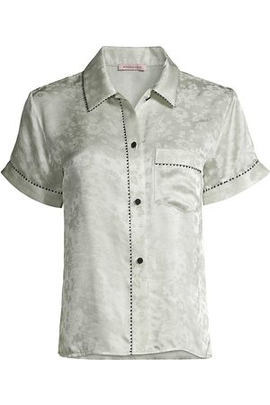 Morgan Lane Women Short sleeves - Women's Floral Short-Sleeve Pajama Top - Sea Glass - Size Large