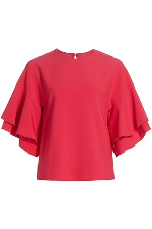 Carolina Herrera Women Blouses - Women's Double Ruffle-Sleeve Crepe Blouse - Azalea - Size 14