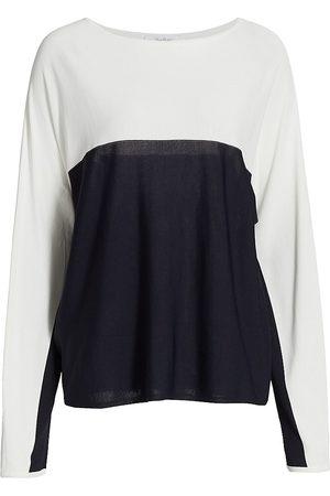 Max Mara Women Long sleeves - Women's Muschio Bicolor Long-Sleeve Top - Navy - Size XL