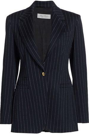 Max Mara Women Blazers - Women's Valdai Pinstripe Jacket - Ultramarine - Size XL